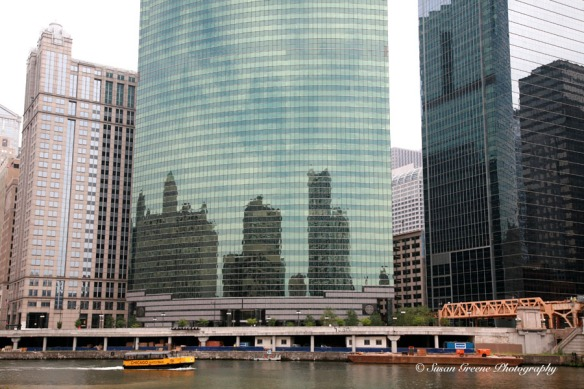 Chicago skyline reflected in buildings
