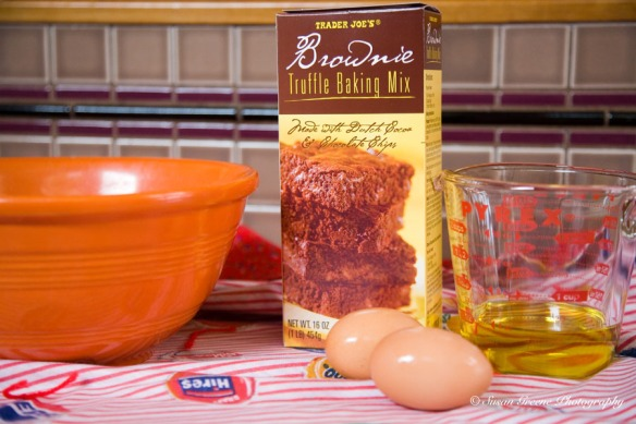 brownie mix and ingredients