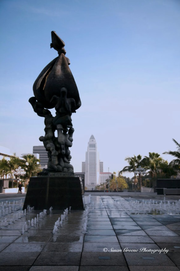 LA city hall and musi center fountain