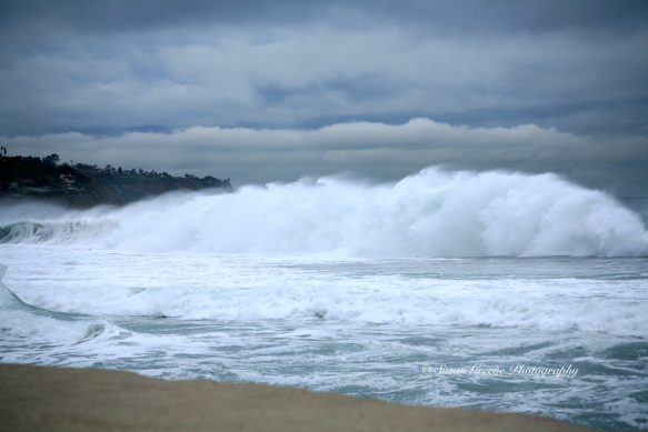 large crashing wave, redondo beach CA